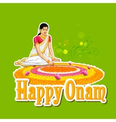 Woman making rangoli for onam vector