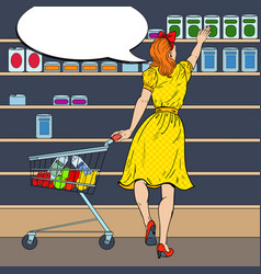woman shopping at the supermarket pop art vector image vector image