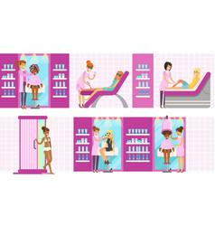 Women in beauty salon enjoying hair and skincare vector