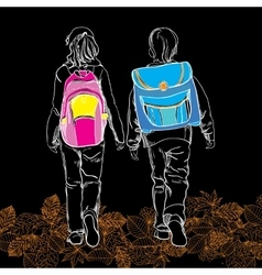 sketch pupils boy and girl with schoolbag on black vector image