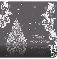Classic royal silver ornamented card vector