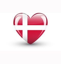 Heart-shaped icon with national flag of denmark vector