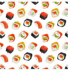Sushi and rolls seamless pattern japanese food vector