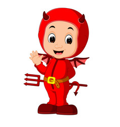 cute devil kids cartoon vector image