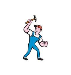 Builder Carpenter Holding Hammer Cartoon vector image