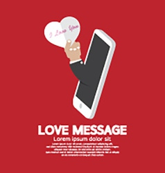 Heart in hand from smartphone love message concept vector