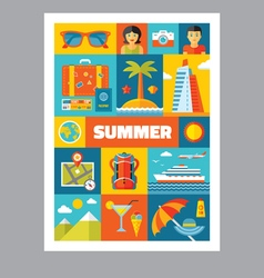 Summer holiday - mosaic poster with icons vector