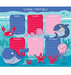 School timetable sea animals vector