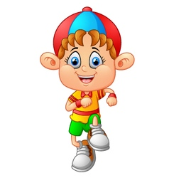 Little boy walk cartoon vector