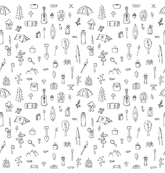 Hand drawn hike seamless pattern doodle camping vector
