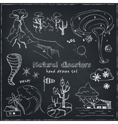 Set of doodle sketch natural disasters vector