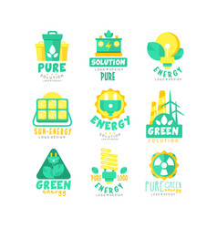 alternative green energy sources logo set vector image