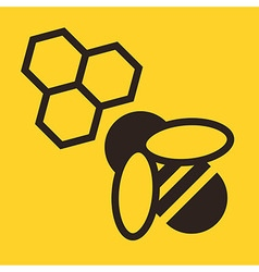 Bee and honeycombs icon vector image vector image