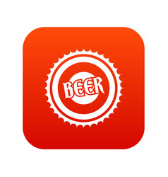 beer bottle cap icon digital red vector image vector image