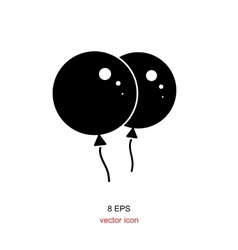 Black party balloon icon isolated on white vector image vector image