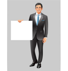 Businessman showing paper banner vector