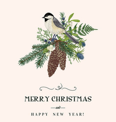 christmas bouquet and bird vector image vector image
