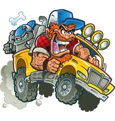 Crazy redneck in pickup truck vector