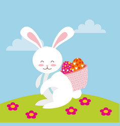 cute rabbit character easter season vector image