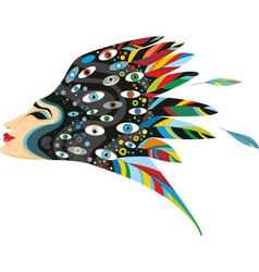 Fantastic Woman Head Isolated vector image vector image