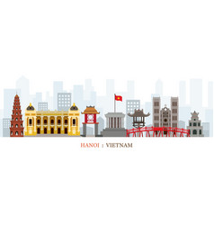 Hanoi vietnam landmarks skyline vector