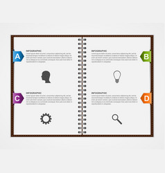 Infographics design template open notebook with vector