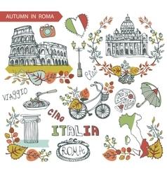 Italy rome landmark setautumn leaves wteath group vector
