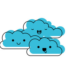 kawaii cumulus clouds icon flat in watercolor vector image vector image
