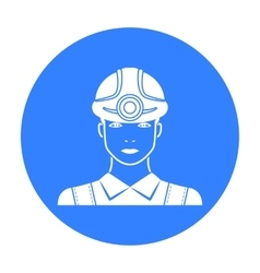 Miner icon in black style isolated on white vector