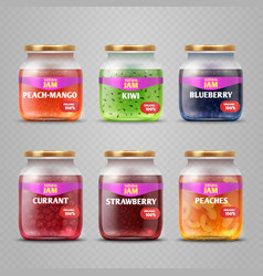 realistic fruit jam glass jars isolated vector image vector image