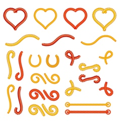 Rope knots collection set random shapes vector