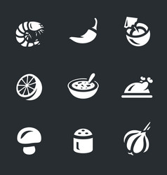 Set of tom yam soup icons vector