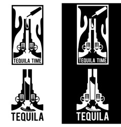 tequila with guns and cactus vector image vector image