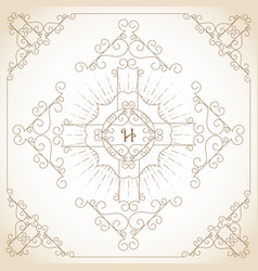 vintage ornament greeting card vector image vector image
