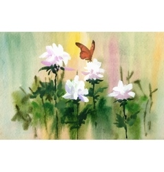 Watercolor tender flowers and butterfly on meadow vector