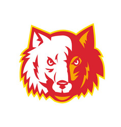 Wild dog wolf head front vector