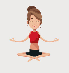 Woman yoga lotus meditation vector