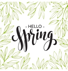 Words Spring with wreath branchesleaves vector image vector image