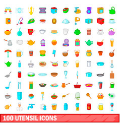 100 utensil icons set cartoon style vector image vector image
