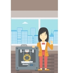 Woman with three d printer vector