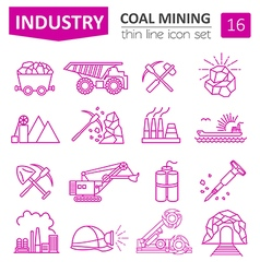 Coal mining icon set thin line icon design vector