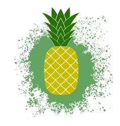 Fresh ripe pineapple on green splatter vector