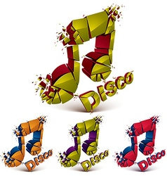 Green and red 3d musical notes broken into pieces vector
