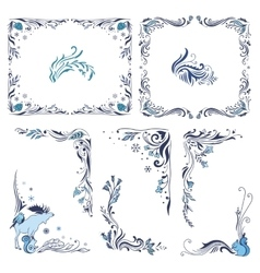 Blue Christmas Frames and Corners vector image
