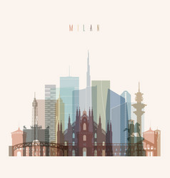 milan skyline detailed silhouette vector image