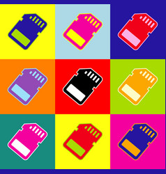 Memory card sign  pop-art style colorful vector