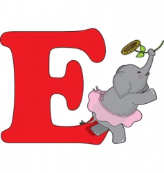e is for elephant vector image