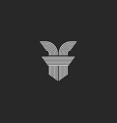 initial letters ff logo monogram lines shape vector image