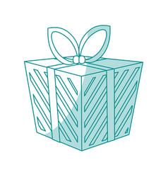 Blue shading silhouette cartoon christmas giftbox vector
