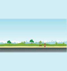 Street in public park with nature landscape vector